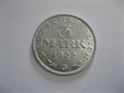 Weimarer Republik  3 Mark  1922 G