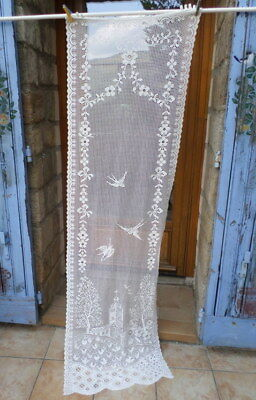 VINTAGE French Net curtain Door  Panel Church Birds  200 L x 56 cm / 80x 22 Ins
