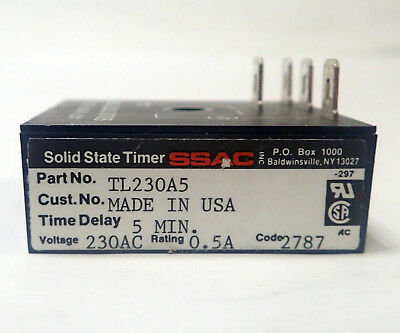 Ssac Tl230A5 Solid State Lockout Timer, 230Vac, 5 Minute
