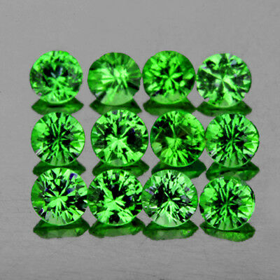 2.6mm ROUND 12 PIECE CHROME GREEN TSAVORITE GARNET NATURAL GEMSTONE FLAWLESS-VVS