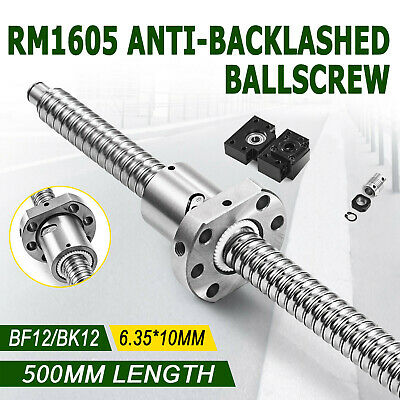 Anti Backlash Ballscrew RM1605-500mm-C7 End Machined+1 set of  BK/BF12+1 Coupler