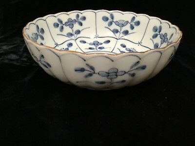 """Antique Chinese Qing blue & white porcelain lobed floral bowl 6.5"""" wide"""