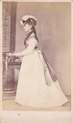 Antique Cdv Photo - Standing Lady Wearing Hat