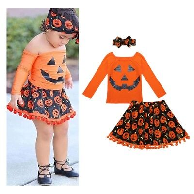 Baby Girls Off Shoulder Pumpkin Printed Dress Kids Halloween Outfits Tutu Skirt