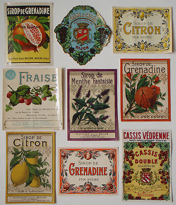 18 French vintage antique Syrup and Cassis bottle labels 9 varieties 2 of each.