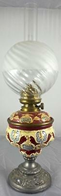 Beautiful Antique 2 Piece Majolica Oil Lamp With Globe Glass Shade -Sans Pareil