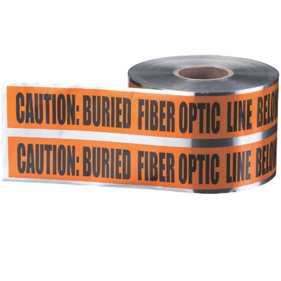 "Ideal 42-252 Underground ""Caution Buried Fiber Optic Line"" Tape, Orange 6""x1000"