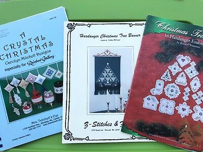 Hardanger Embroidery Christmas Ornaments Pattern Book Lot Crystal Pillow Banner