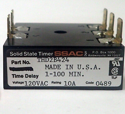 Ssac Thd2B424 Solid State Delay Timer Relay 120Vac, 10A, 1-100 Min