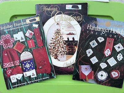Christmas Hardanger Embroidery Pattern Book Lot Holiday Ornaments Doily Apron