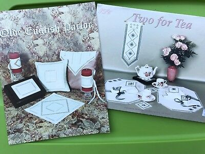 Hardanger Embroidery Olde English Parlor / Tea for Two Linens Pattern Book Lot