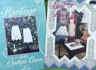 Hardanger Embroidery Pattern Book Lot Southern Charm Linen Lace by Janice Love
