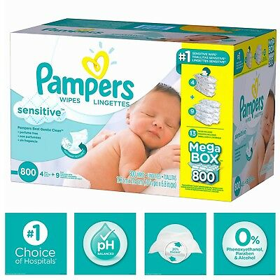 Pampers Sensitive Baby Wipes 800 Count-Perfume Free-20% Thicker-Refill Packs.
