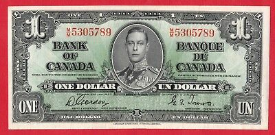 ✪ 1937 $1 Bank of Canada Note Gordon-Towers M/M Prefix 5305789 - AU Cleaned