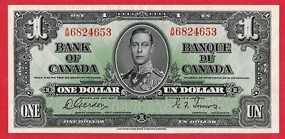 ✪ 1937 $1 Bank of Canada Note Gordon-Towers A/M Prefix 6824653 - AU Pressed