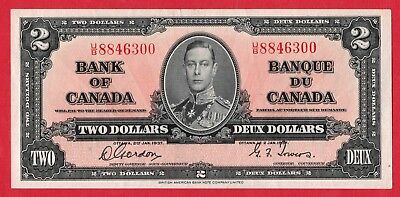 ✪ 1937 $2 Bank of Canada Note Gordon-Towers U/B Prefix 8846300 - EF/AU