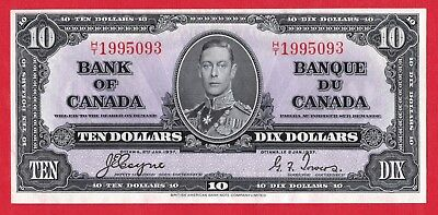 ✪ 1937 $10 Bank of Canada Note Coyne-Towers H/T Prefix 1995093 - AU Pressed