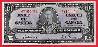 ✪ 1937 $10 Bank of Canada Note Gordon-Towers Y/D Prefix 4546479 - AU Cleaned