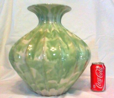 "Vintage Huge Swirled Design Pottery Vase 14-1/2"" Tall! Gorgeous & Mint"