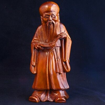 Chinese wood carving of immortal Shou lao - God of longevity-Late 19th C