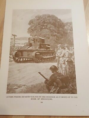 Pre WWII ANTIQUE PRINT- Post WW1 - Tank passing Infantry halted by the roadside