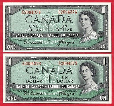 ✪ 2 Consecutive 1954 $1 Bank of Canada Notes F/N Changeover Prefix - Ch UNC