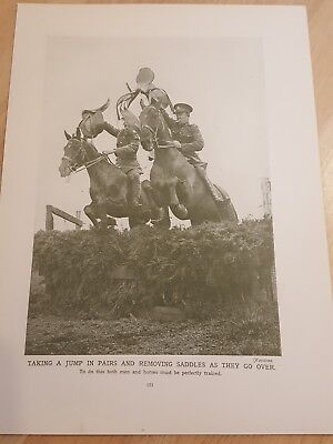 Pre WWII ANTIQUE PRINT- Post WW1 - Royal Field Artillery jumping horses