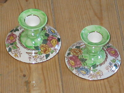 Vintage Maling China Pair Of Candle Holders Green Peony Rose