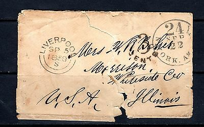 1858 Great Britain stampless cover Liverpool to Morrison, IL w/legible letter