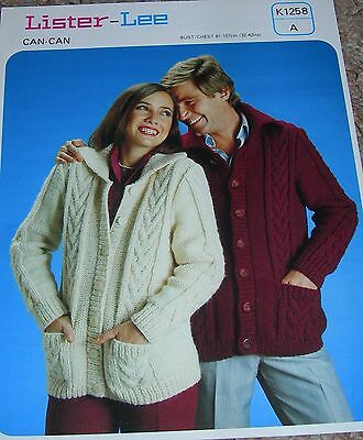 b153e3a14 Vintage Lister Knitting Pattern His   Her s Can Can Cable Patt Cardigan ...