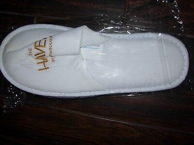 NCL Norwegian Cruise Line Exclusive HAVEN White Slippers with Gold Lettering NEW