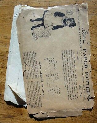 antique DEAN LITTLE FOLKS SEWING PATTERN #4629~GIRLS' ONE PIECE APRON size 12yr