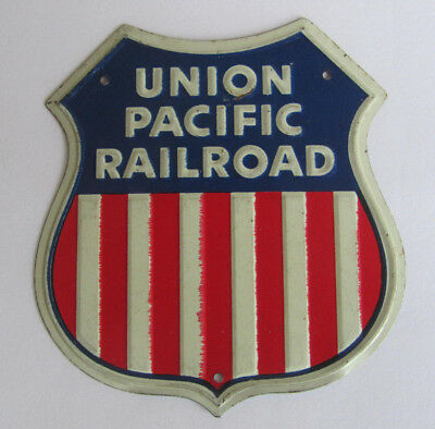 ONE Vintage Metal Post Cereal UNION PACIFIC Railroad Emblem Sign VERY GOOD COND.