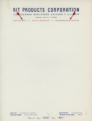 1940s RIT Dye Letterhead Indianapolis Indiana New Address Coloring