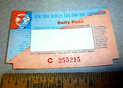 vintage New York Worlds Fair 1964 1965 Daily Pass Ticket, new and unused!
