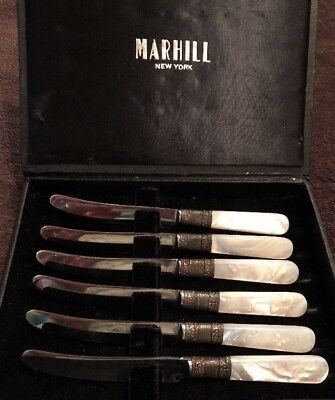 Marhill New York Mother Of Pearl Handled Sterling Collar Knife Set- 6