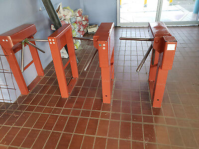 1930's turnstiles from enfield aquatic centre, colour red