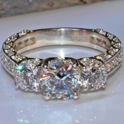 3.10Ct Round Moissanite Diamond Brilliant Bridal Engagement Ring 14K White Gold