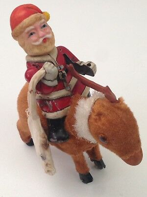 Vintage Metal Wind Up Santa Claus w/ Reindeer Toy Japan