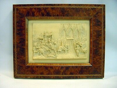 SUPERB 1700's Military/Papal Procession Alabaster Bas-Relief Carving, Framed