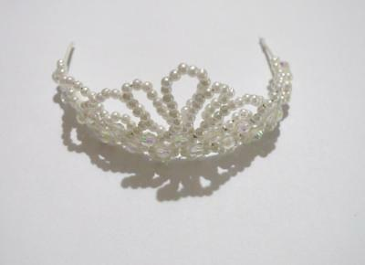Hand~Crafted Little Girls White Beaded Crown Tiara~Baby Doll~New