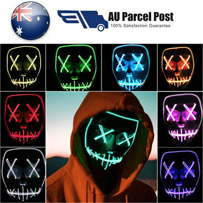 Purge Up Edm Halloween Mask Smiling Stitched Light Rave El Wire Cosplay 2018