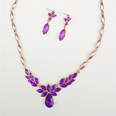 Fashion Woman Wedding Jewelry Set Exquisite Gold Plated Crystal Necklace Earring