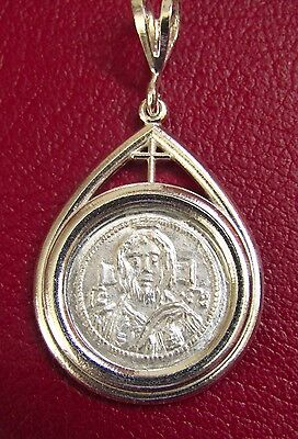 Christ first Byzantine coined image Solid Silver Coin Pendant with Cross medal