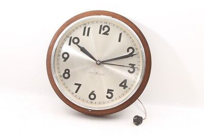 Beautiful Old Wall Clock by Junghans with Cable Synchron Clock Wood