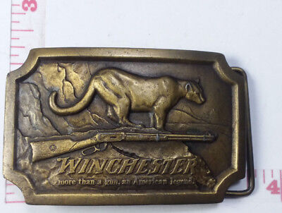 Winchester Gun Cougar Brass Belt Buckle 1976 Indiana Metal Craft American Legend
