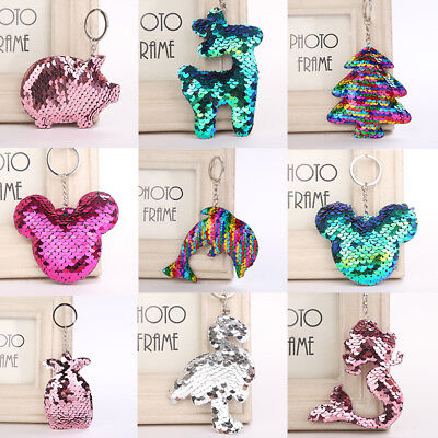 Keyrings Sequin Animal Keychain Bag Hanging Acces Key Ring Cute Fashion Gift