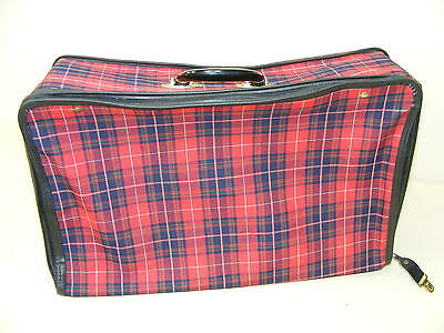 Beautiful Old Fabric Check Travel Suitcase Vintage Design Retro Cult