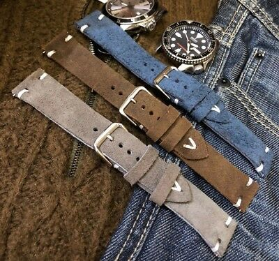 H/Made Vintage Italian Genuine Suede Leather Watch Strap 18 19 20 21mm Dark Blue