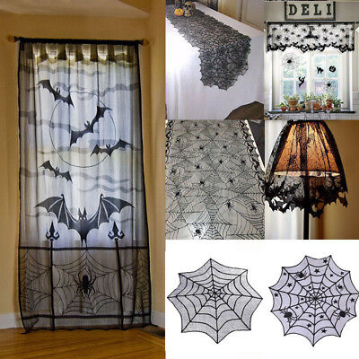 NEW Halloween Spiderweb Tablecloth Black Lace Bat Spider Party Table Home Decor